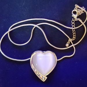 Jewelry - Heart Necklace with White Stone & Cubic Zirconia